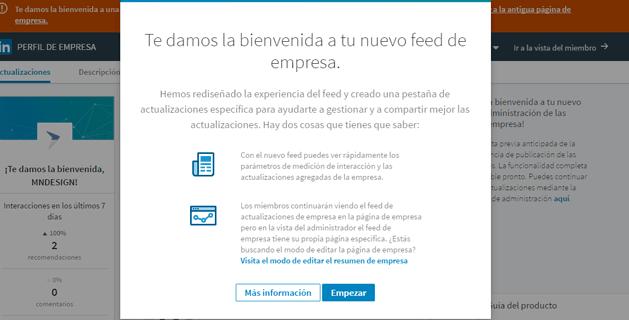 Pestaña de bienvenida al nuevo diseño de perfil de empresa Linkedin
